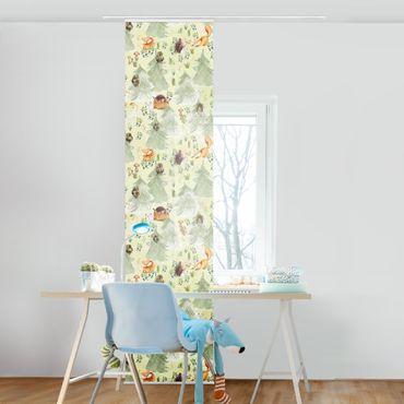Schiebegardinen Set - Fuchs und Eule mit Bäumen - 6 Flächenvorhänge
