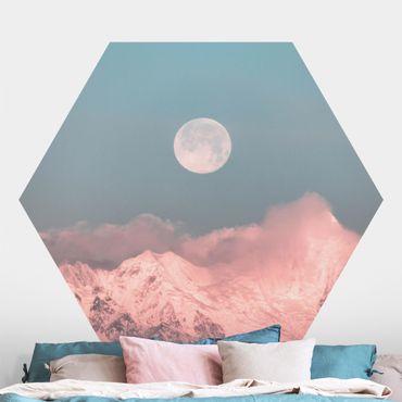 Hexagon Mustertapete selbstklebend - Berge im Mondschein