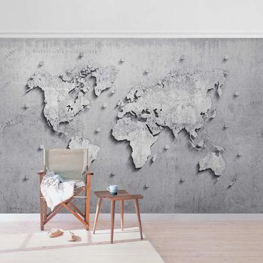Metallic Tapete  - Beton Weltkarte