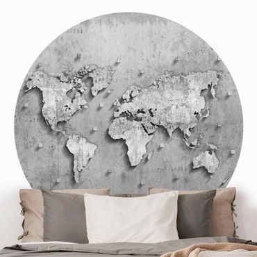 Runde Tapete selbstklebend - Beton Weltkarte