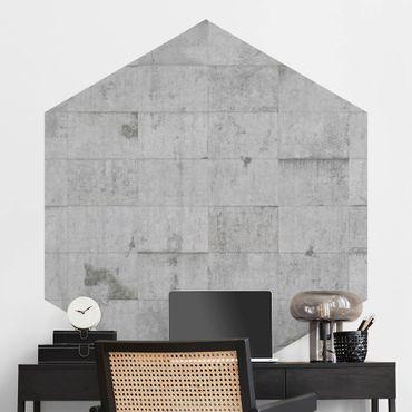 Hexagon Fototapete selbstklebend - Beton Ziegeloptik grau