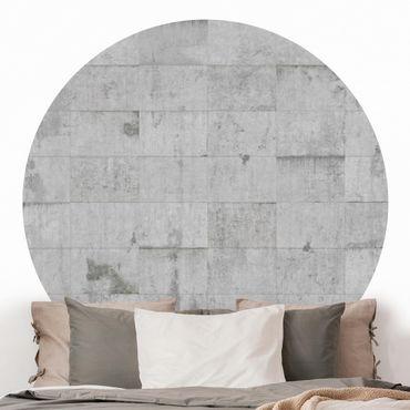 Runde Tapete selbstklebend - Beton Ziegeloptik grau