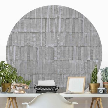Runde Tapete selbstklebend - Beton Ziegeltapete
