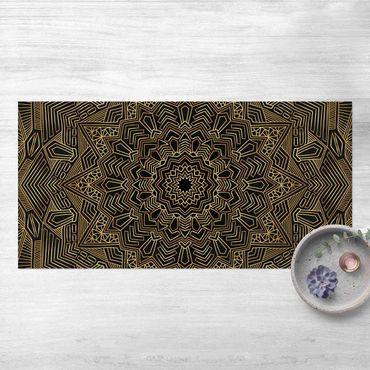 Vinyl-Teppich - Mandala Stern Muster gold schwarz - Querformat 2:1
