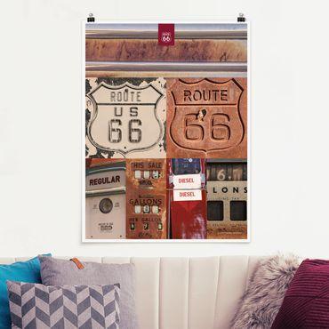 Poster - Route 66 - Collage Rostige Schilder - Hochformat 3:4