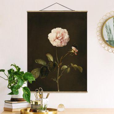 Stoffbild mit Posterleisten - Barbara Regina Dietzsch - Essig-Rose mit Hummel - Hochformat 4:3
