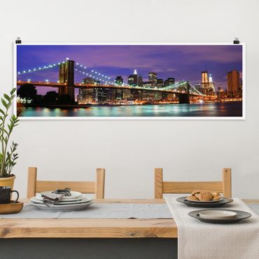 Poster - Brooklyn Bridge in New York City - Panorama Querformat