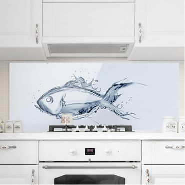 Spritzschutz Glas - Liquid Silver Fish - Panorama - 5:2