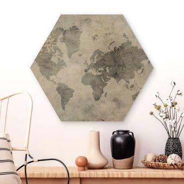 Hexagon Bild Holz - Vintage Weltkarte II