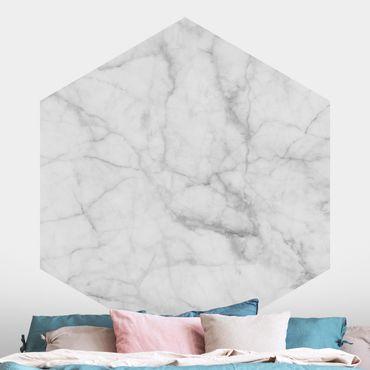Hexagon Fototapete selbstklebend - Bianco Carrara