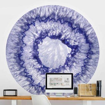 Runde Tapete selbstklebend - Blau Lila Kristall