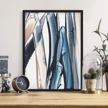 Bild mit Rahmen - Blau und Beige Streifen - Hochformat