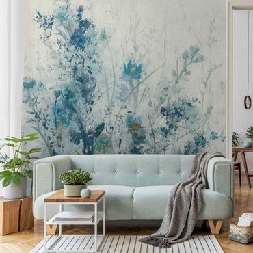Metallic Tapete  - Blaue Frühlingswiese I