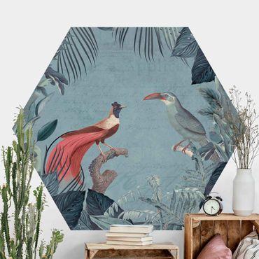 Hexagon Mustertapete selbstklebend - Blaugraues Paradies mit tropischen Vögeln