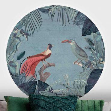 Runde Tapete selbstklebend - Blaugraues Paradies mit tropischen Vögeln