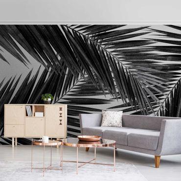 Metallic Tapete  - Blick durch Palmenblätter Schwarz-Weiß