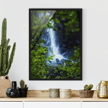 Bild mit Rahmen - Blick zum Wasserfall - Hochformat