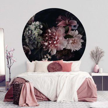 Runde Tapete selbstklebend - Blumen mit Nebel auf Schwarz