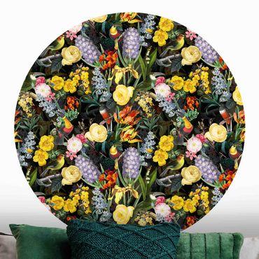 Runde Tapete selbstklebend - Blumen mit Tropischen Vögeln Bunt