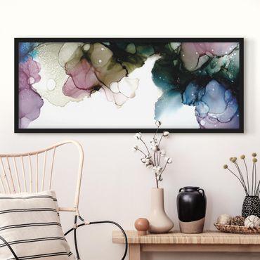 Bild mit Rahmen - Blumenbogen mit Gold - Panorama