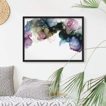 Bild mit Rahmen - Blumenbogen mit Gold - Querformat