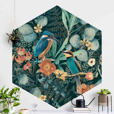Hexagon Mustertapete selbstklebend - Blumenparadies Eisvogel und Kolibri