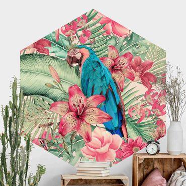 Hexagon Mustertapete selbstklebend - Blumenparadies tropischer Papagei