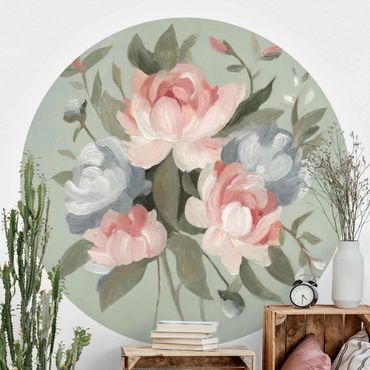 Runde Tapete selbstklebend - Bouquet in Pastell I