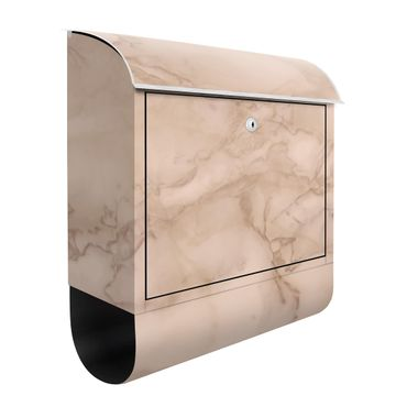 Briefkasten - Marmoroptik Grau Braun - Briefkasten mit Zeitungsrolle