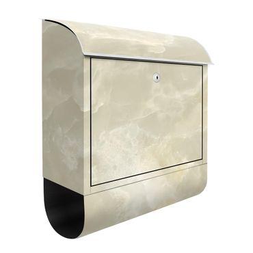 Briefkasten - Onyx Marmor Creme - Briefkasten mit Zeitungsrolle