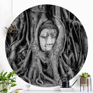 Runde Tapete selbstklebend - Buddha in Ayutthaya von Baumwurzeln gesäumt in Schwarzweiß