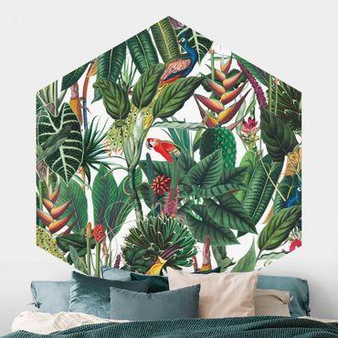 Hexagon Mustertapete selbstklebend - Bunter tropischer Regenwald Muster