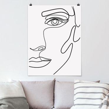 Poster - Line Art Portrait Frau Schwarz Weiß - Hochformat 4:3