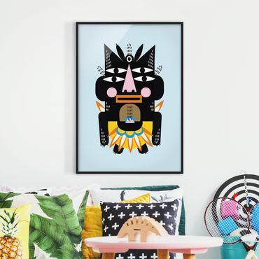 Bild mit Rahmen - Collage Ethno Monster - Häuptling - Hochformat 4:3