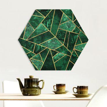 Hexagon Bild Forex - Dunkler Smaragd mit Gold