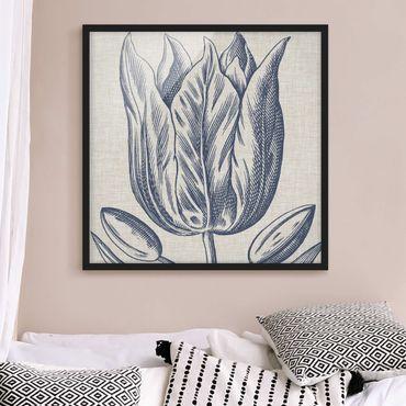 Bild mit Rahmen - Indigo Blüte auf Leinen II - Quadrat 1:1