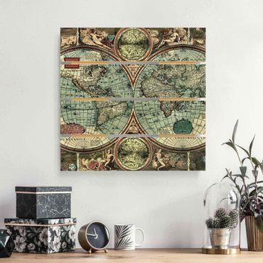 Holzbild - Die alte Welt - Quadrat 1:1
