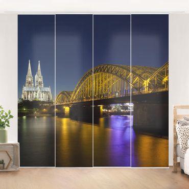 Schiebegardinen Set - Köln bei Nacht - Flächenvorhänge
