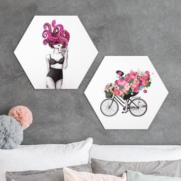 Hexagon Bild Forex 2-teilig - Laura Graves - Frauen Zeichnungen - Floraler Ozean