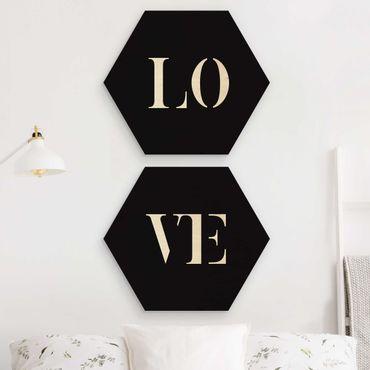 Hexagon Bild Holz 2-teilig - Buchstaben LOVE Weiß Set I