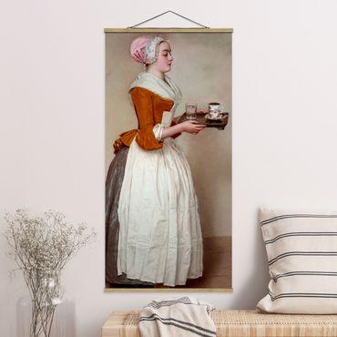 Stoffbild mit Posterleisten - Jean Etienne Liotard - Das Schokoladenmädchen - Hochformat 1:2