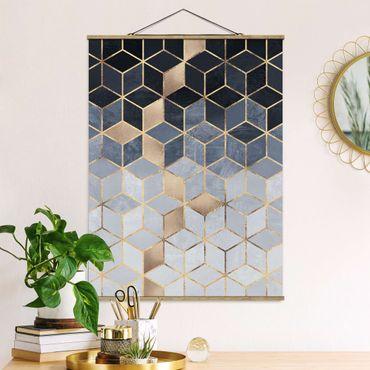 Stoffbild mit Posterleisten - Elisabeth Fredriksson - Blau Weiß goldene Geometrie - Hochformat 4:3