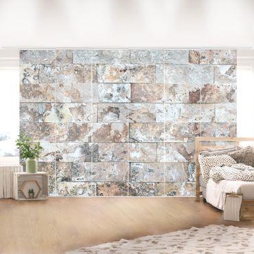 Schiebegardinen Set - Naturmarmor Steinwand - Flächenvorhänge
