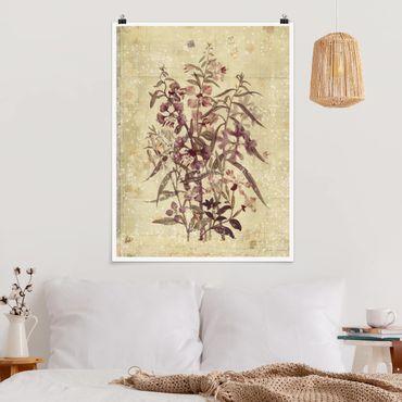 Poster - Vintage Florale Leinenoptik - Hochformat 3:4