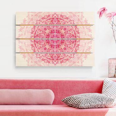 Holzbild - Mandala Aquarell Ornament pink - Querformat 2:3