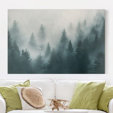 Leinwandbild - Nadelwald im Nebel - Querformat 2:3