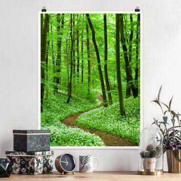 Poster - Romantischer Waldweg - Hochformat 3:4
