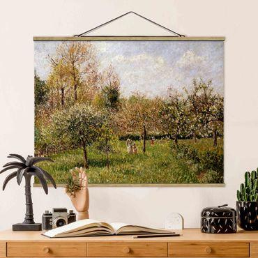 Stoffbild mit Posterleisten - Camille Pissarro - Frühling in Eragny - Querformat 4:3