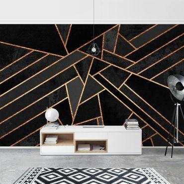 Fototapete - Schwarze Dreiecke Gold - Fototapete Quadrat