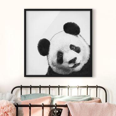 Bild mit Rahmen - Illustration Panda Schwarz Weiß Malerei - Quadrat 1:1